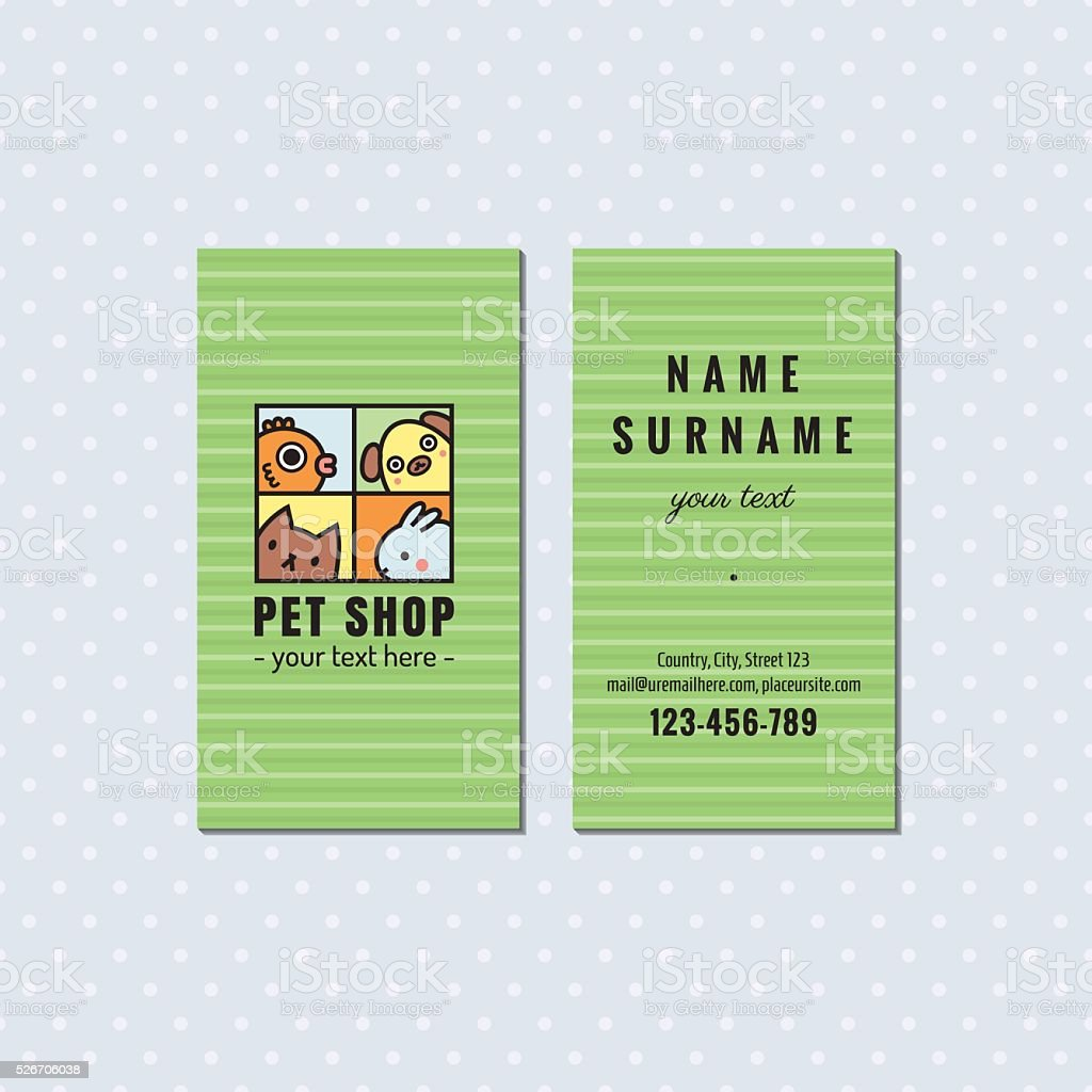 Pet Shop Green Vector Business Card Square Logo With Pets Stock ...