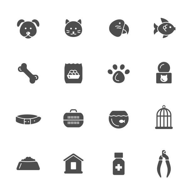 ilustrações de stock, clip art, desenhos animados e ícones de pet shop icons - lata comida gato