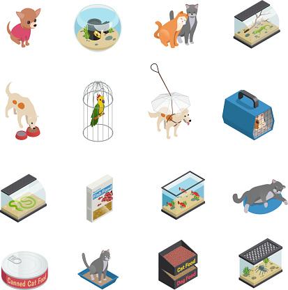 pet shop isometric icons