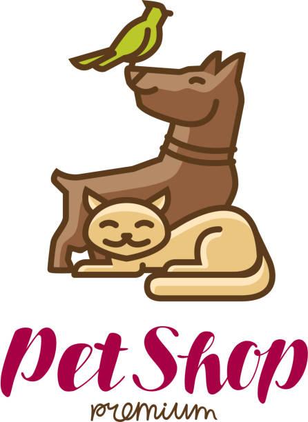 ペット ショップ ラベルやロゴ。動物、オウム、犬、猫のアイコン。ベクトル図 - ペットショップ点のイラスト素材/クリップアート素材/マンガ素材/アイコン素材