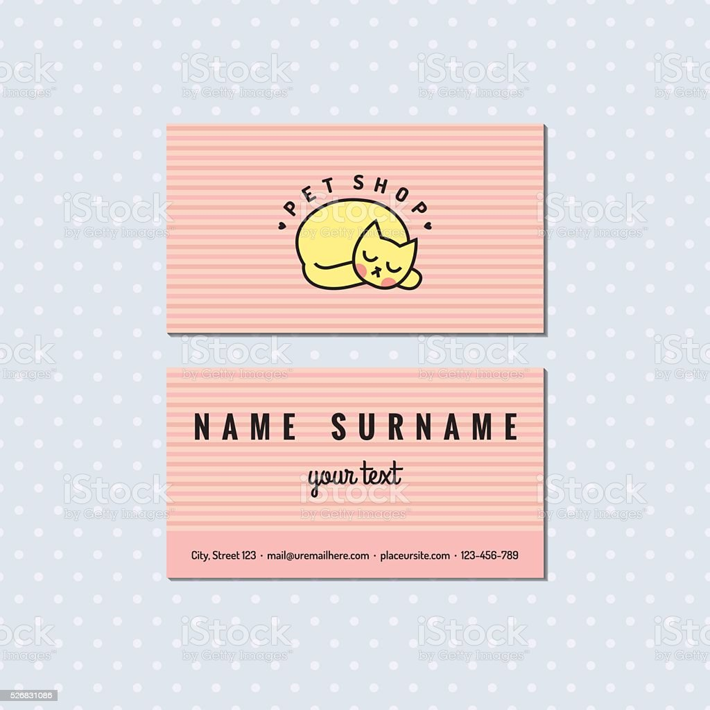 Pet Shop Light Pink Vector Business Card Logo With Cat Stock Vector ...