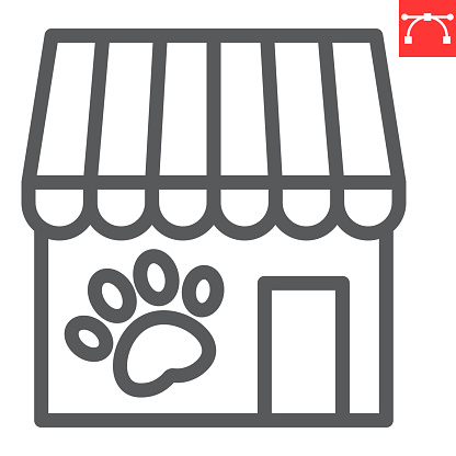 Pet shop line icon, building and market, pet store vector icon, vector graphics, editable stroke outline sign, eps 10.