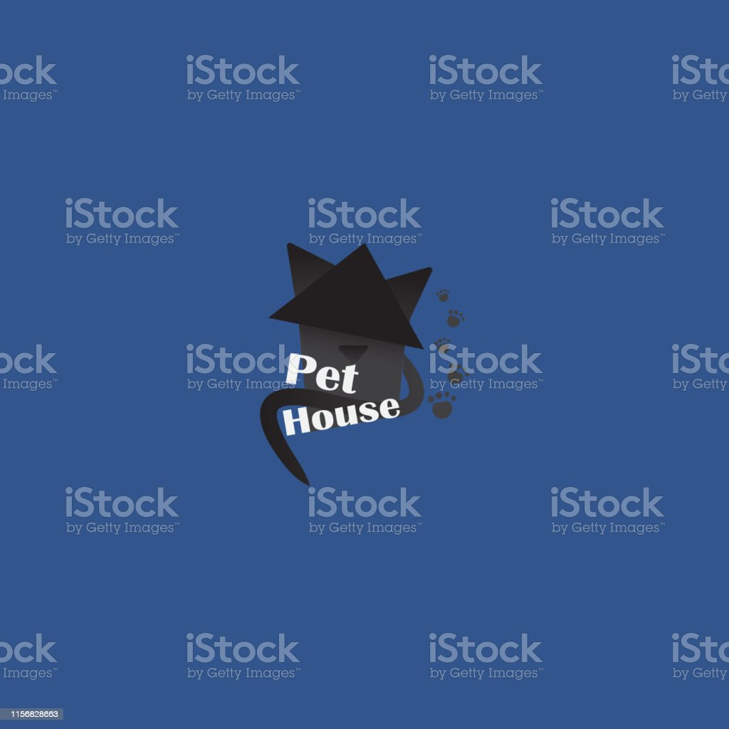 Pet shop logotype, creative logo for cats store, with black cat....