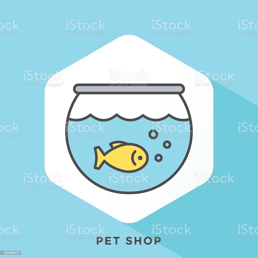 Pet Shop Outline Icon vector art illustration