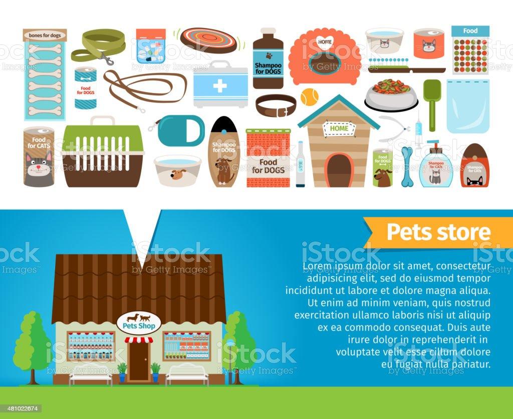 Pet shop. Pets accessories and vet store vector art illustration