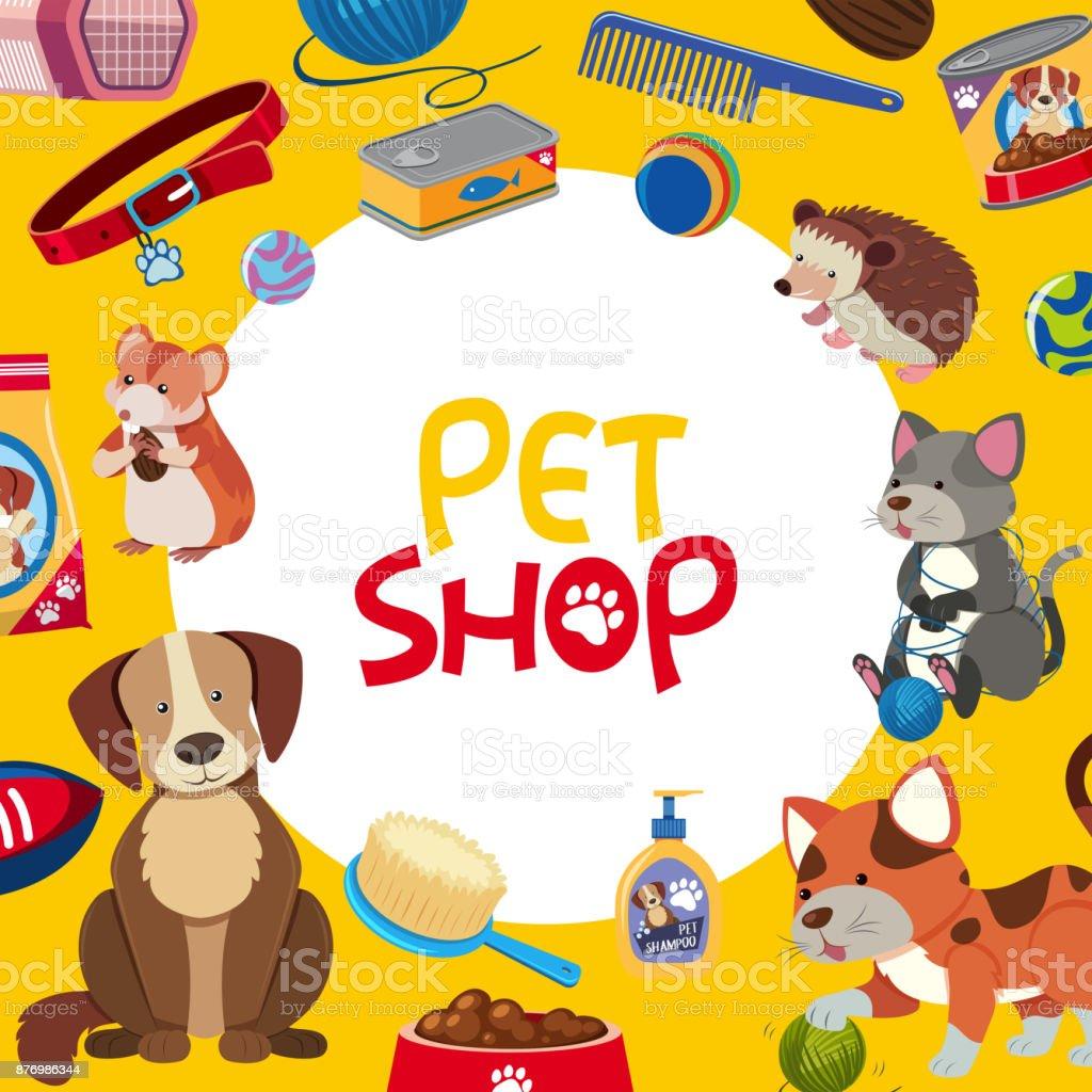 Zoohandlung-Poster-Design mit vielen Haustieren und Zubehör – Vektorgrafik