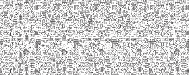 Pet Shop Related Seamless Pattern and Background with Line Icons