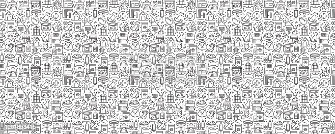 istock Pet Shop Related Seamless Pattern and Background with Line Icons 1201853415