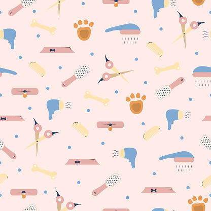 Pet shop seamless pattern. Vector background for dog grooming. Template for veterinary store design.