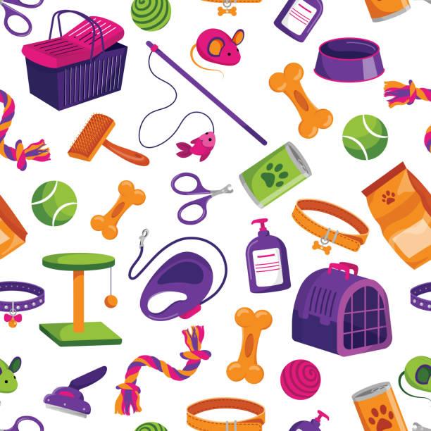 ペットショップシームレスパターン。ベクトルフラット漫画イラスト。動物は包装の背景または印刷の設計を格納します。 - ペットショップ点のイラスト素材/クリップアート素材/マンガ素材/アイコン素材