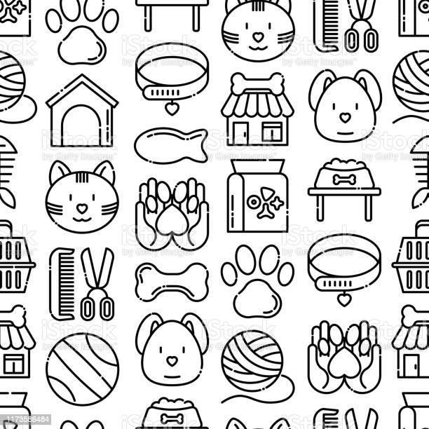 Pet shop seamless pattern with thin line icons cat dog collar kennel vector id1173586484?b=1&k=6&m=1173586484&s=612x612&h=oxwy0tdeo83qegsi37hc001hq7n38gy2h6vycc1jxwq=