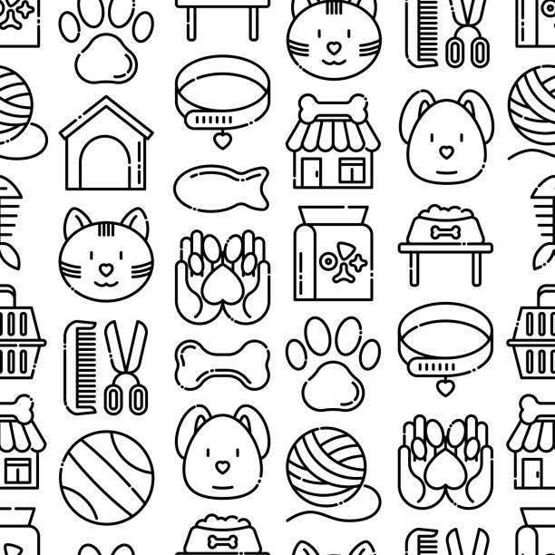 細い線のアイコンを持つペットショップシームレスなパターン:猫、犬、襟、犬小屋、グルーミング、食品、おもちゃ。現代のベクトルイラスト。 - ペットショップ点のイラスト素材/クリップアート素材/マンガ素材/アイコン素材