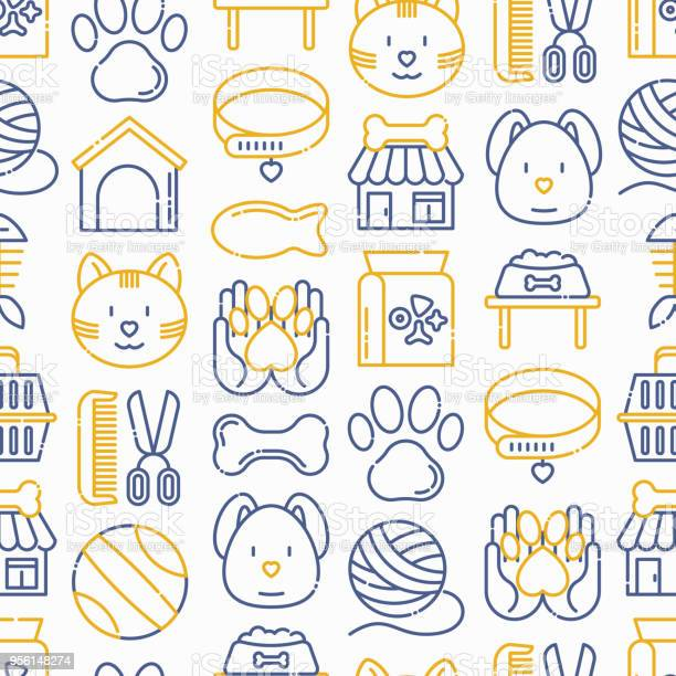 Pet shop seamless pattern with thin line icons cat dog collar kennel vector id956148274?b=1&k=6&m=956148274&s=612x612&h=hjmfqfhuj s iko7x n vfhnfu6hliyyp0i0qivwnw8=