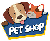 Pet shop sign with cute dog and cat illustration