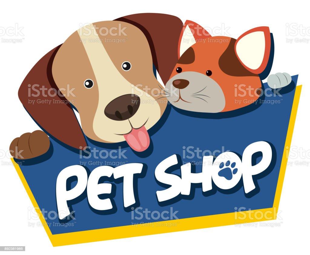Tierhandlung Schild mit niedlichen Hund und Katze – Vektorgrafik