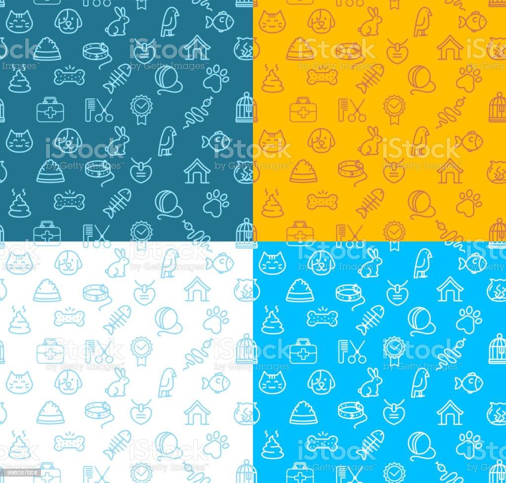 Pet Shop Signs Seamless Pattern Background Set. Vector