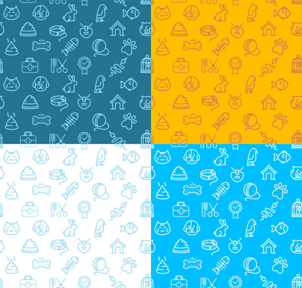 pet shop signs seamless pattern background set. vector - pets stock illustrations, clip art, cartoons, & icons