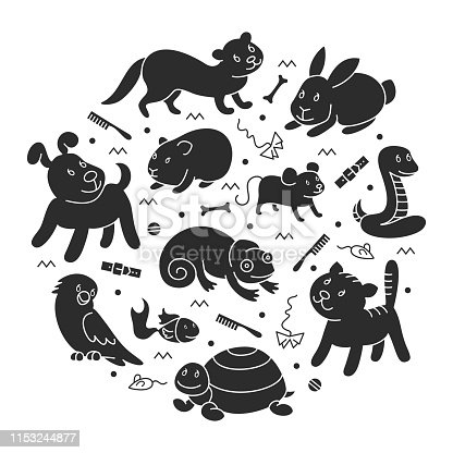pet shop silhouette in circle template