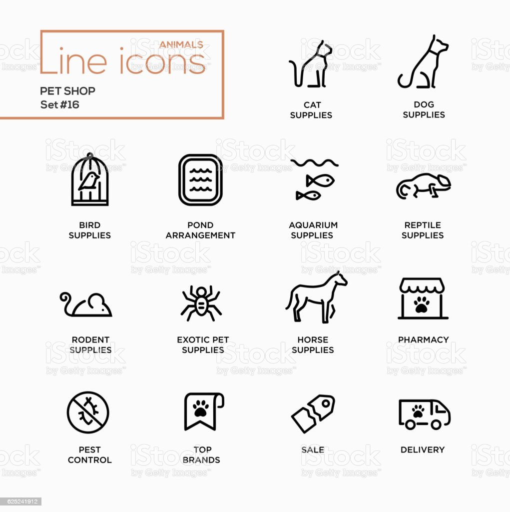 Pet Shop - Single Line Pictograms Set vector art illustration