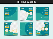 istock Pet shop square banner template. Promotional banner for social media post, web banner and flyer Vol.12 1183908403