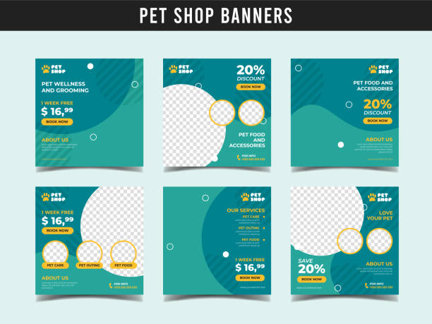 Pet shop square banner template. Promotional banner for social media post, web banner and flyer Vol.12 Set of pet shop or animal clinic banners banner ads templates stock illustrations