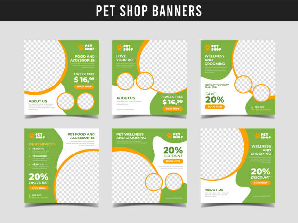 Pet shop square banner template. Promotional banner for social media post, web banner and flyer Vol.18 Set of pet shop or animal clinic banners animal shelter stock illustrations