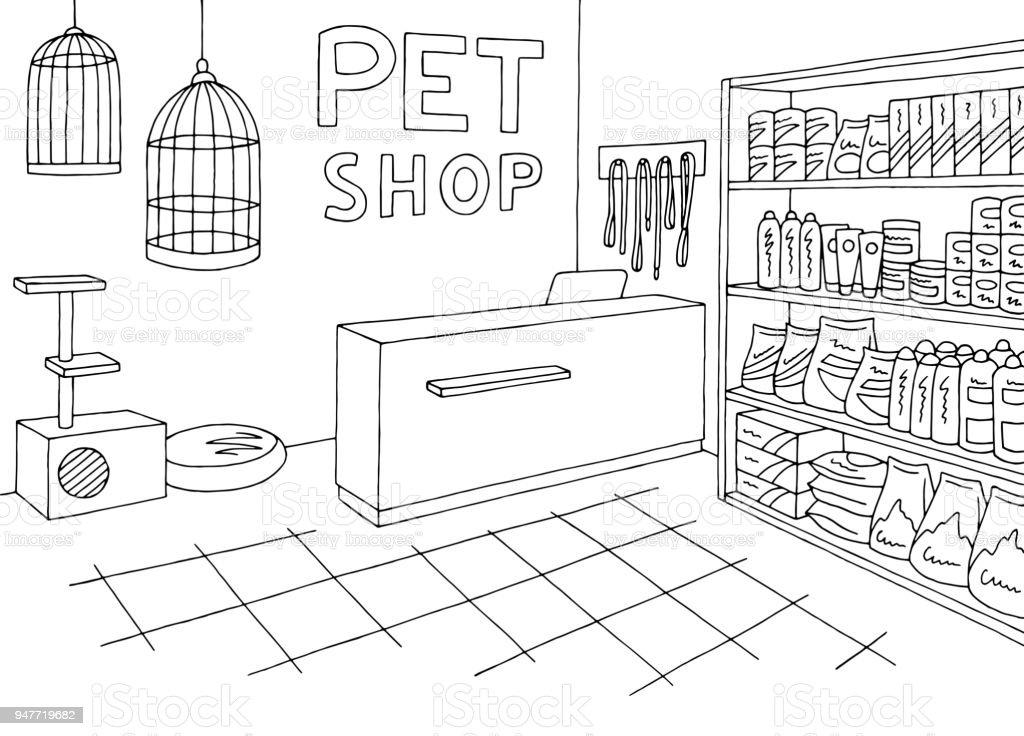 Vetores De Loja De Animais Loja Grafica Interior Preto Branco