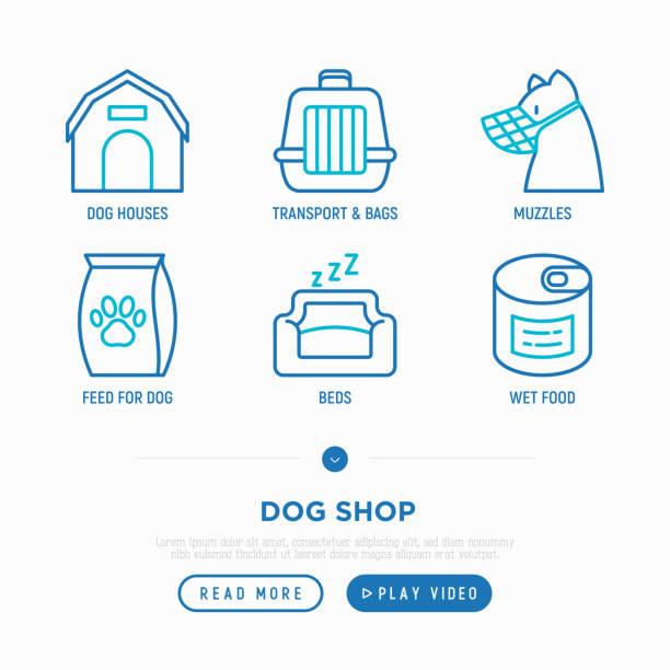 pet shop dünne linie icons set: haustierbett, taschen für den transport, schnauze, snacks, trockenfutter, nasses essen. vektor-illustration. - hundebetten stock-grafiken, -clipart, -cartoons und -symbole