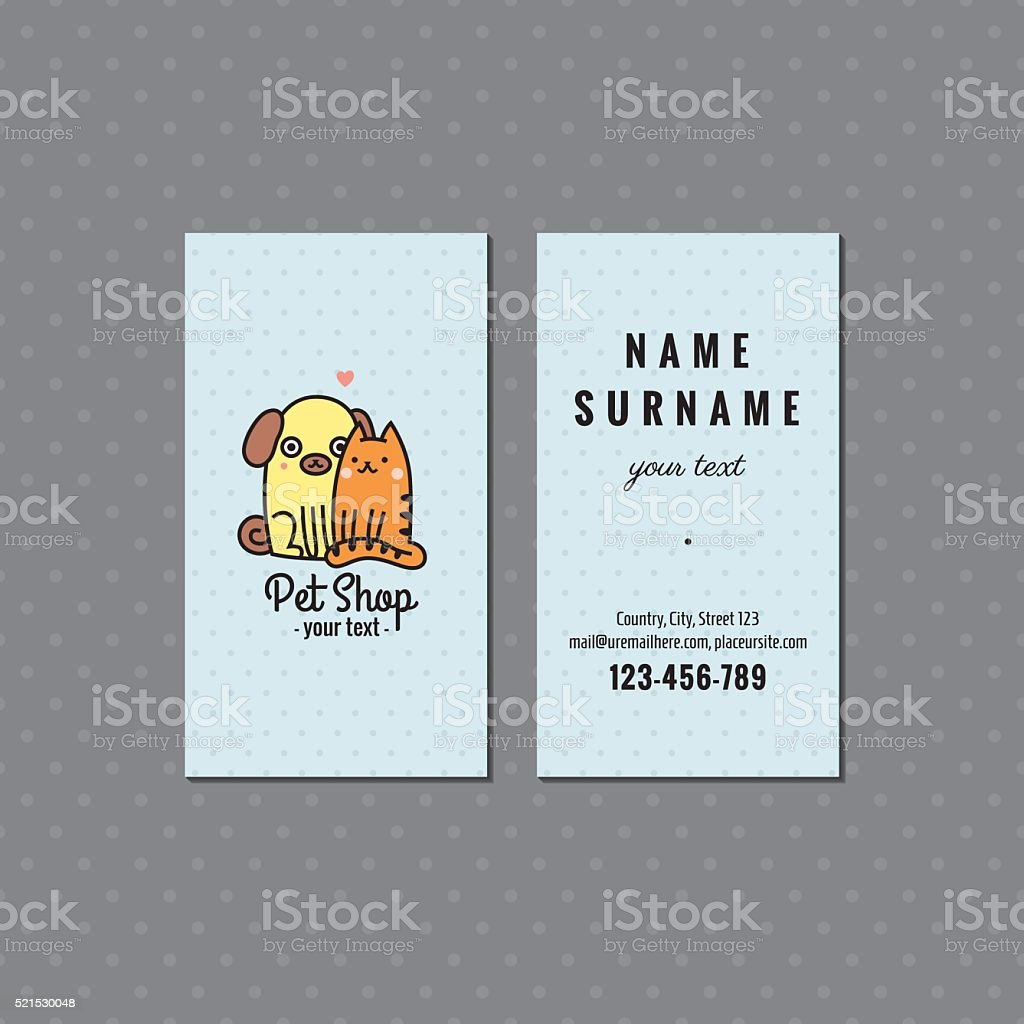 Pet Shop Vector Business Card Logo With Dog And Cat Stock Vector Art ...