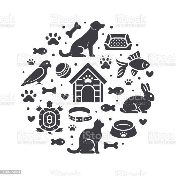 Pet shop vector circle banner with flat silhouette icons dog house vector id1164874854?b=1&k=6&m=1164874854&s=612x612&h=86sqahrtfixovp7teyfvukgykhw8jvwafgz8fi ryvs=