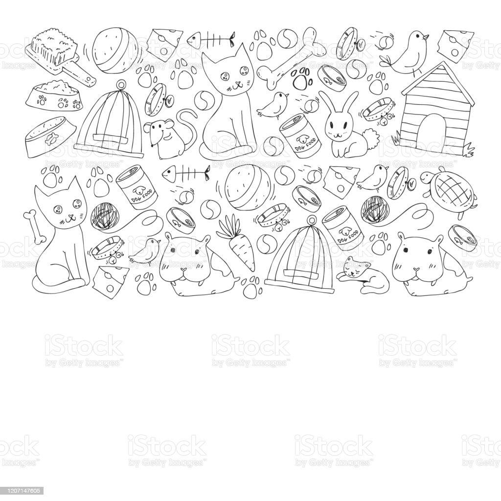 ペットショップ。動物、犬、猫、魚、子猫、鳥、子犬とカラフルな背景とベクトルのイラスト。獣医クリニック。 - お絵かきのロイヤリティフリーベクトルアート