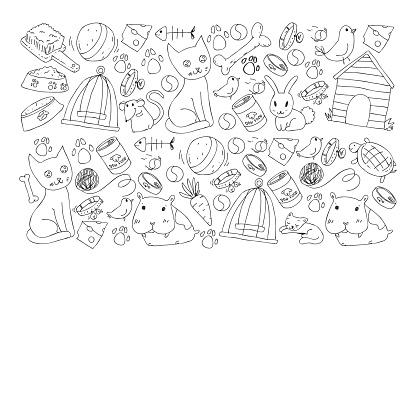ペットショップ動物犬猫魚子猫鳥子犬とカラフルな背景とベクトルのイラスト獣医クリニック - お絵かきのベクターアート素材や画像を多数ご用意