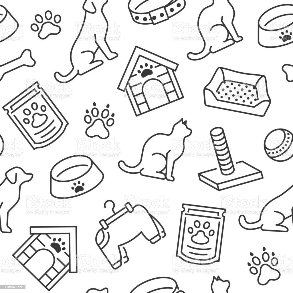 Pet Shop Vector Seamless Pattern With Flat Line Icons Of Dog House Cat Food Food Bowl Puppy Toys Animal Paw Black White Color Background Wallpaper For Veterinary Clinic Stock Illustration Download