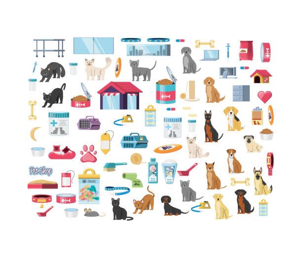ilustrações de stock, clip art, desenhos animados e ícones de pet shop veterinary elements - lata comida gato