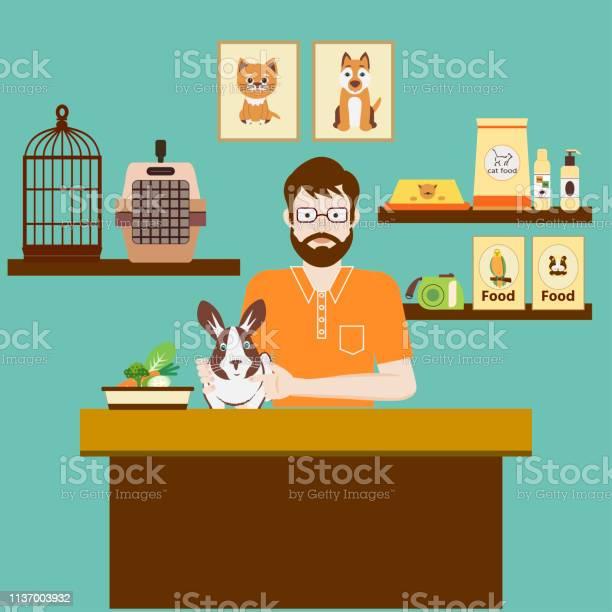 Pet shops seller with cute rabbit accessories for animals care food vector id1137003932?b=1&k=6&m=1137003932&s=612x612&h=xv esckuss f3xirovphd0biq edqnt2jhtzwficbae=