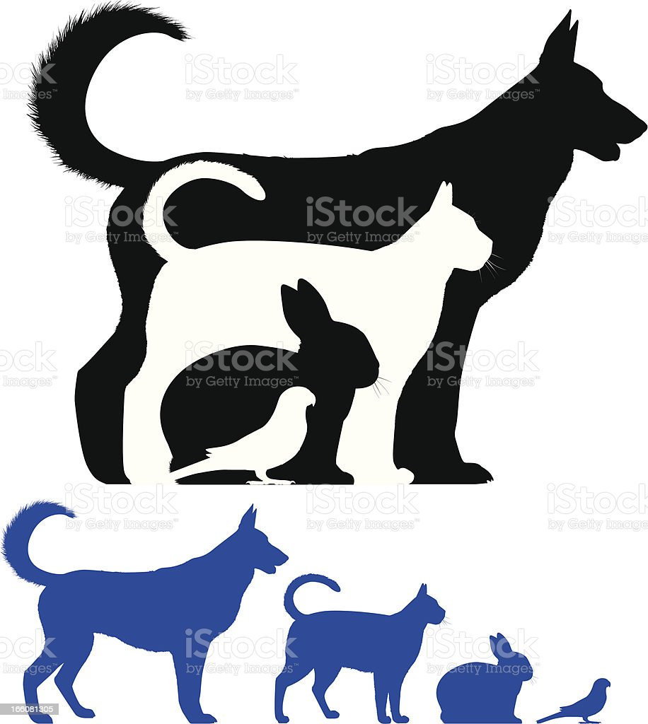 Pet Silhouette vector art illustration