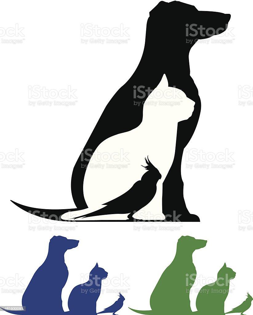 Pet Silhouette vector art illustration