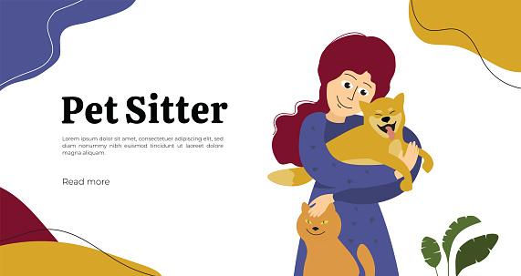 Pet sitter illustration for web or print design