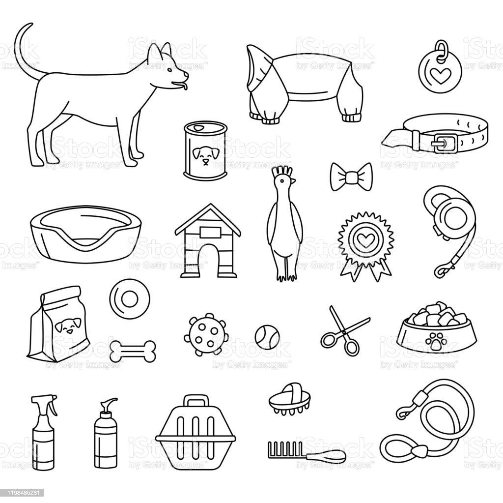 犬用のペットショップは白黒を設定します。ベクトルイラスト落書き - いたずら書きのロイヤリティフリーベクトルアート