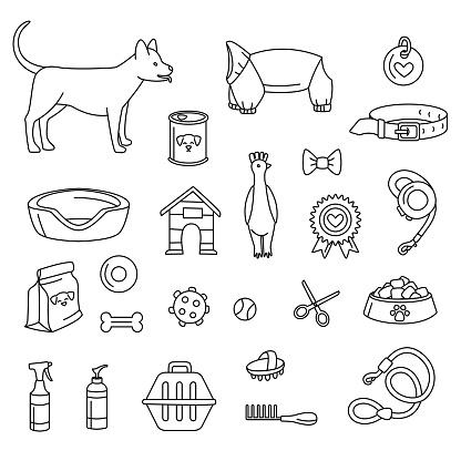 犬用のペットショップは白黒を設定しますベクトルイラスト落書き - いたずら書きのベクターアート素材や画像を多数ご用意