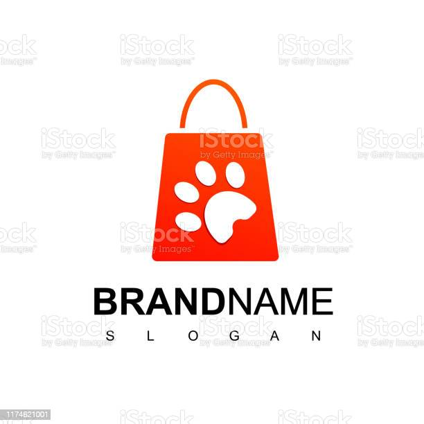 Pet store logo design template with silhouette paw on shopping bag vector id1174621001?b=1&k=6&m=1174621001&s=612x612&h=xpihii9fydi8dmcmoy omsdv8eehl2y7z8d4ynp81oa=