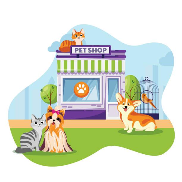 ペットストアや獣医クリニックファサードベクトルフラット漫画イラスト。動物屋の建物の近くに座っている猫と犬 - ペットショップ点のイラスト素材/クリップアート素材/マンガ素材/アイコン素材