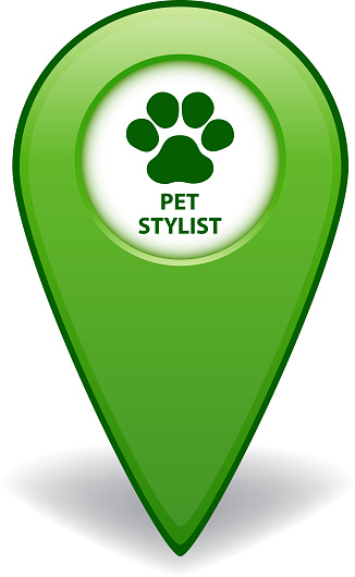 Pet Stylist green map pointer for GPS navigation