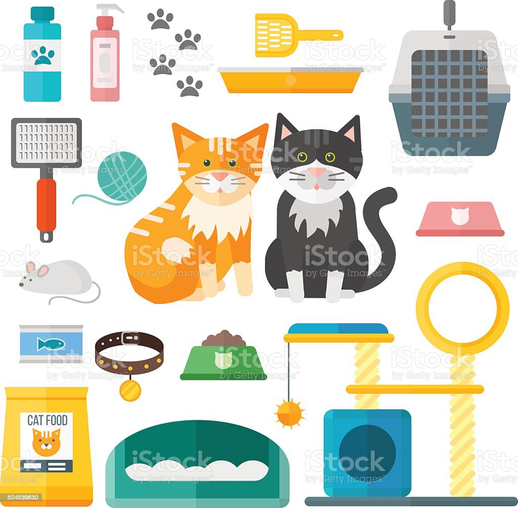 Pet supplies cat accessories animal equipment care grooming tools vector vector art illustration