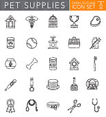 Pet Supplies Open Outline Icon Set