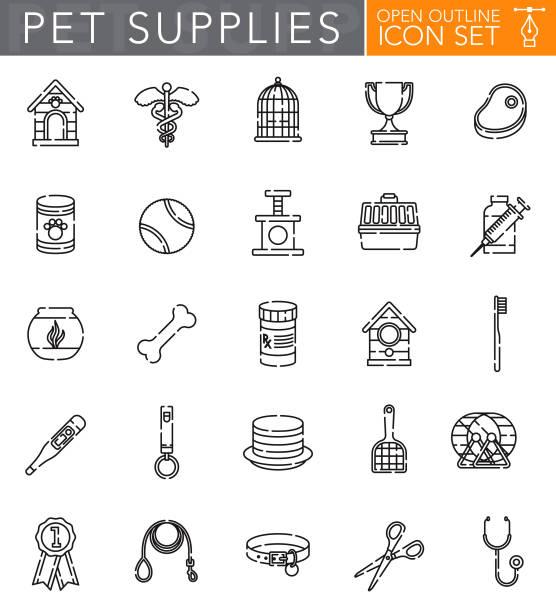 ilustrações de stock, clip art, desenhos animados e ícones de pet supplies open outline icon set - dog food