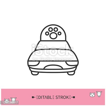 istock Pet taxi line icon. Editable illustration 1285299917