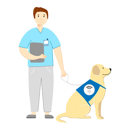 Pet Therapy Landing Page with Nurse and Labrador Vector Illustration