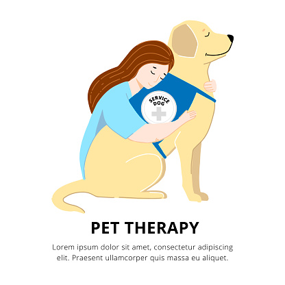 Pet Therapy Poster with Woman and Cute Labrador Vector Illustration