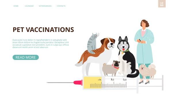 Pet vaccination landing page vector art illustration